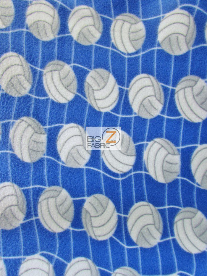 Blue Volleyball Anti-pill Fleece Fabric