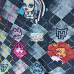 Monster High Anti-pill Polar Fleece Fabric Checkered Black