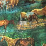 Horse Anti-pill Polar Fleece Fabric Green Field