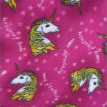 Horse Anti-pill Polar Fleece Fabric Pink Unicorn