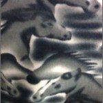 Horse Anti-pill Polar Fleece Fabric Big Gray