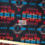 Baum Textile Mills Fleece Fabric indian Aztec Canyon Black