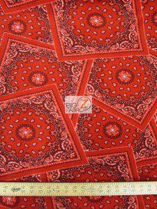 Baum Textile Mills Fleece Printed Fabric Bandana Red