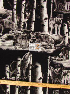 Baum Textile Mills Fleece Printed Fabric Gray Wolf