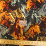 Baum Textile Mills Fleece Printed Fabric Packed Horses