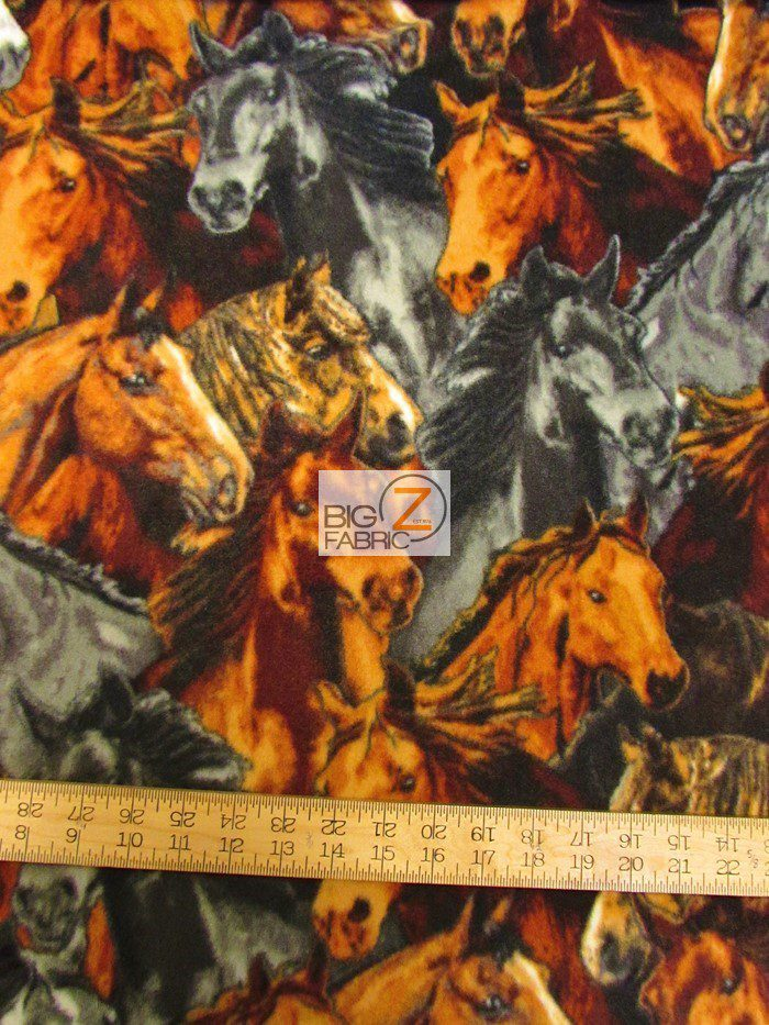 Horses Anti Pill Polar Fleece Fabric By Baum Textile Mills Anti