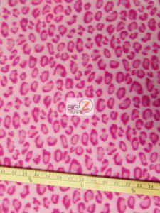 Leopard Anti Pill Fleece Fabric Pink
