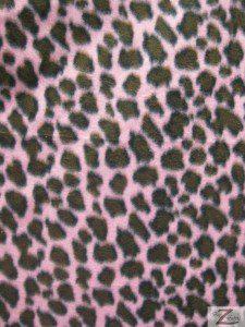 Leopard Anti Pill Fleece Fabric Pink Brown