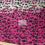 Leopard Anti Pill Fleece Fabric Pink Snow