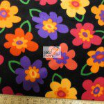 Baum Textile Mills Fleece Printed Fabric Pop Floral Black