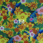 Fleece Printed Fabric Floral Garden