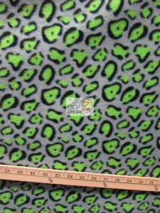 Cheetah Polar Fleece Fabric Gray Lime