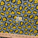Cheetah Polar Fleece Fabric Gray Yellow
