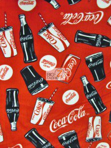 Coca-Cola Bottles And Cans Fleece Fabric