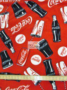Coca-Cola Bottles And Cans Fleece Fabric Measurement
