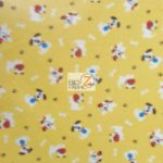 Dog Anti-pill Fleece Printed Fabric Patched Happy Dogs Yellow