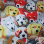 Fleece Printed Fabric Animal Dog Assorted Dogs