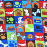 Fleece Printed Fabric Animal Dog Dog Lifestyle Colored Checkers Lifestyle Colored Checkers