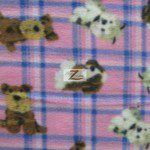 Fleece Printed Fabric Animal Dog Pink Plaid
