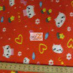 Cat Anti Pill Fleece Fabric Flower & Hearts