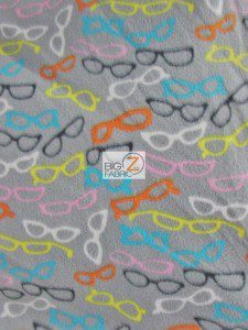 Assorted Glasses Grey Fleece Fabric