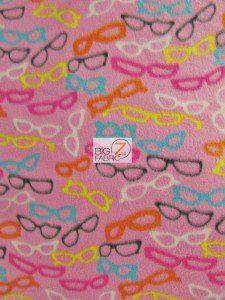 Assorted Glasses Pink Fleece Fabric