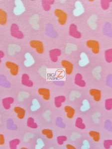 Loving Hearts Pink Fleece Fabric