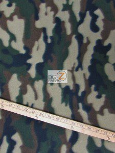 Army Camouflage Anti-pill Fleece Fabric Green