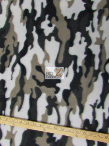 Army Camouflage Anti-pill Fleece Fabric Silver