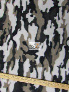 Army Camouflage Anti-pill Fleece Fabric Silver