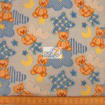 Bear Anti-pill Fleece Fabric Baby Teddy Blue