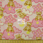 Bear Anti-pill Fleece Fabric Baby Teddy Pink