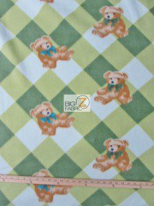 Bear Anti-pill Fleece Fabric Checkered Green