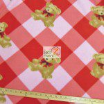 Bear Anti-pill Fleece Fabric Checkered Red