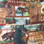 Bear Anti-pill Fleece Fabric Rustic Retreat Wildlife