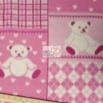 Bear Anti-pill Fleece Fabric Teddy Pink