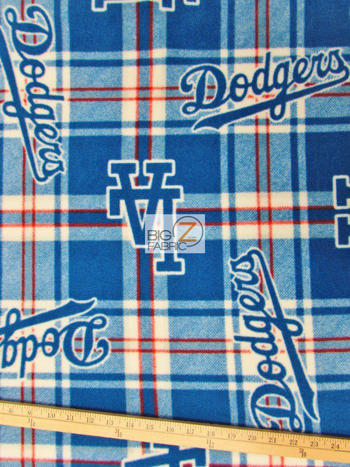 MLB Anti-pill Fleece Fabric Los Angeles Dodgers Plaid