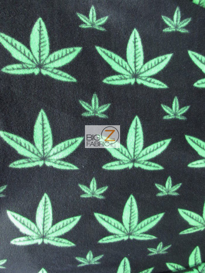 Marijuana Cannabis Plant Fleece Fabric