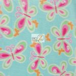 Butterfly Anti-pill Fleece Fabric Aqua Summer