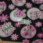 Butterfly Anti-pill Fleece Fabric Black