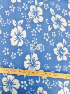 Hawaiian Flower Anti-pill Fleece Fabric Baby Blue