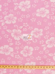 Hawaiian Flower Anti-pill Fleece Fabric Baby Pink