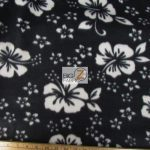 Hawaiian Flower Anti-pill Fleece Fabric Black