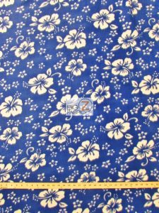 Hawaiian Flower Anti-pill Fleece Fabric Blue