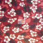 Hawaiian Flower Anti-pill Fleece Fabric Thing Floral Burgundy