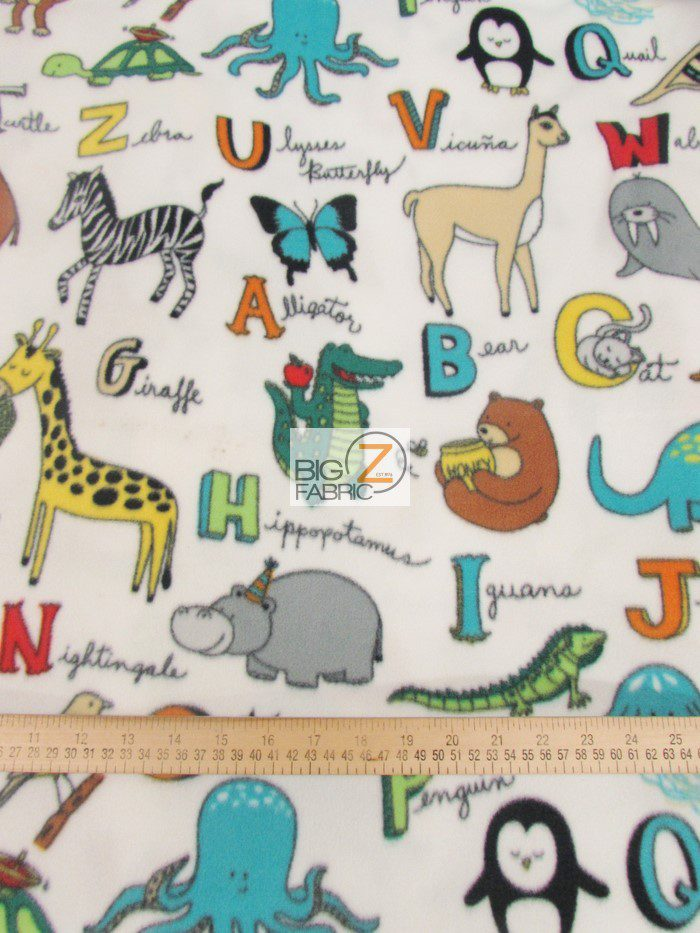 Baum Textile Mills Fleece Fabric ABC Animals