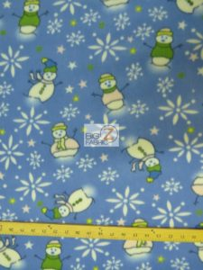 Christmas Snowman Anti-pill Fleece Fabric Blue