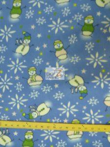 Christmas Snowman Anti-pill Fleece Fabric Blue
