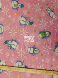 Christmas Snowman Anti-pill Fleece Fabric Pink