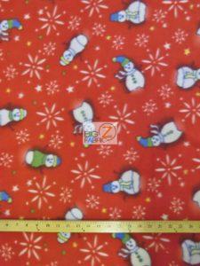 Christmas Snowman Anti-pill Fleece Fabric Red